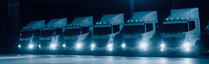 flota de camiones parqueados
